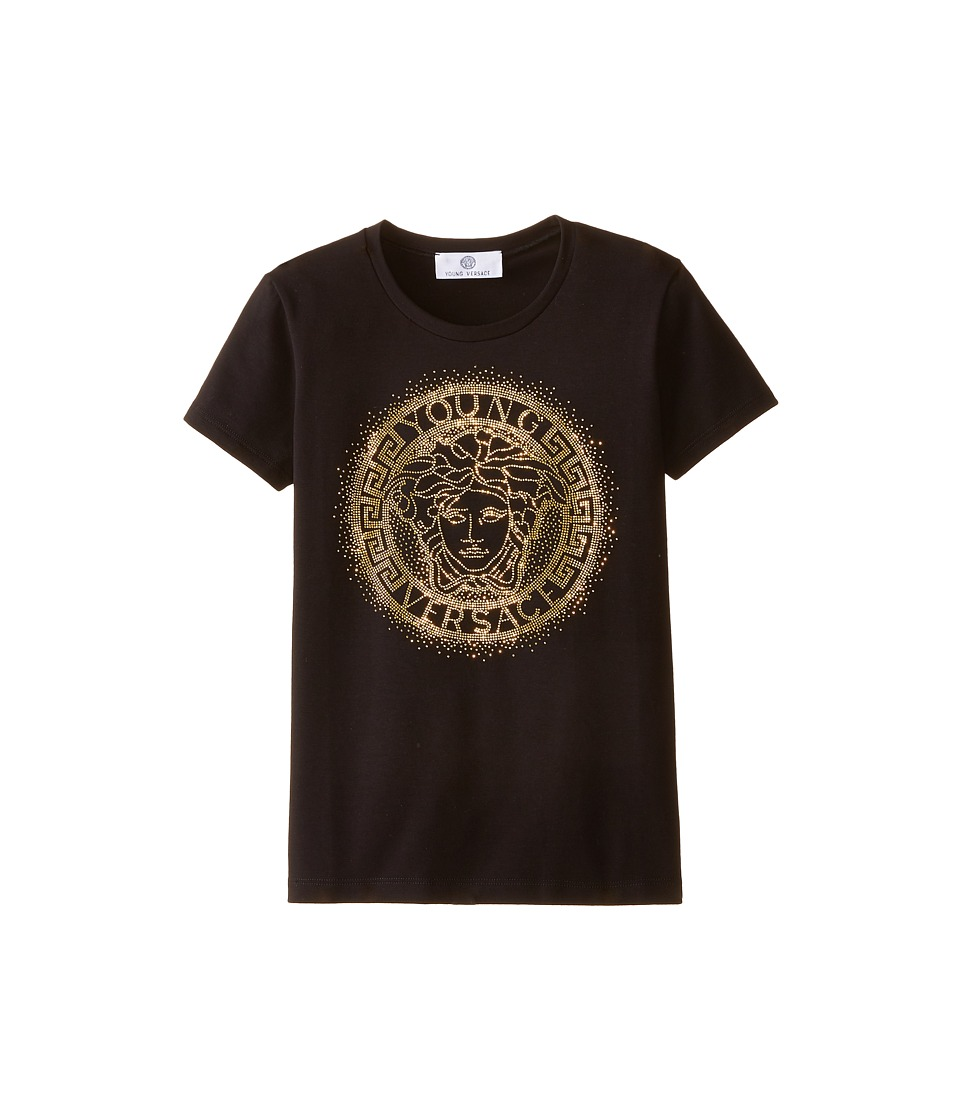 Versace Kids - Medusa Logo In Stones Short Sleeve Tee (Big Kids) (Black) Girl's T Shirt