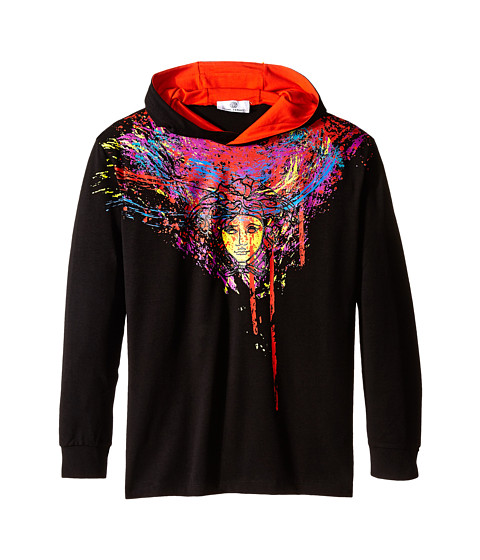 Versace Kids - Hooded Long Sleeve Tee w/ Medusa Paint Drip Graphic Print (Big Kids) (Black) Boy's T Shirt