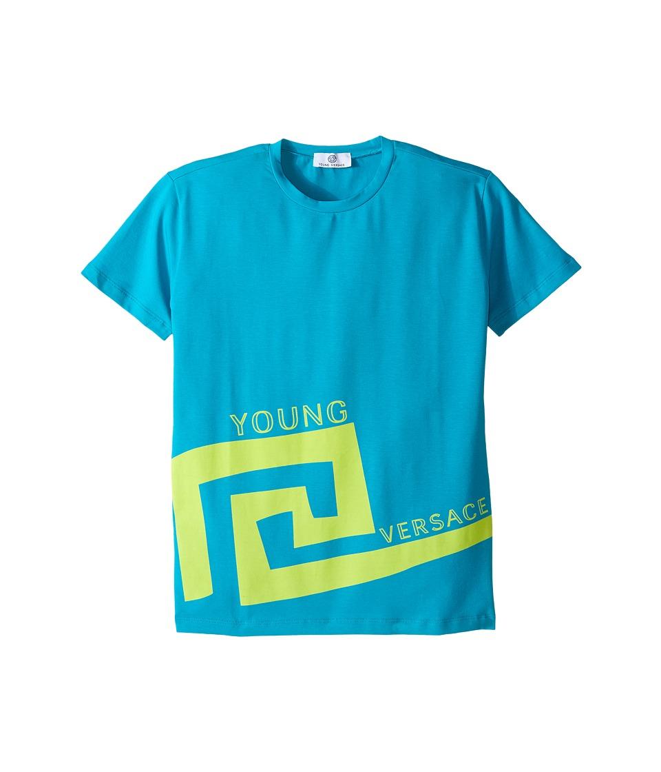 Versace Kids - Big Greco Print Short Sleeve Tee Shirt (Big Kids) (Blue) Boy's T Shirt