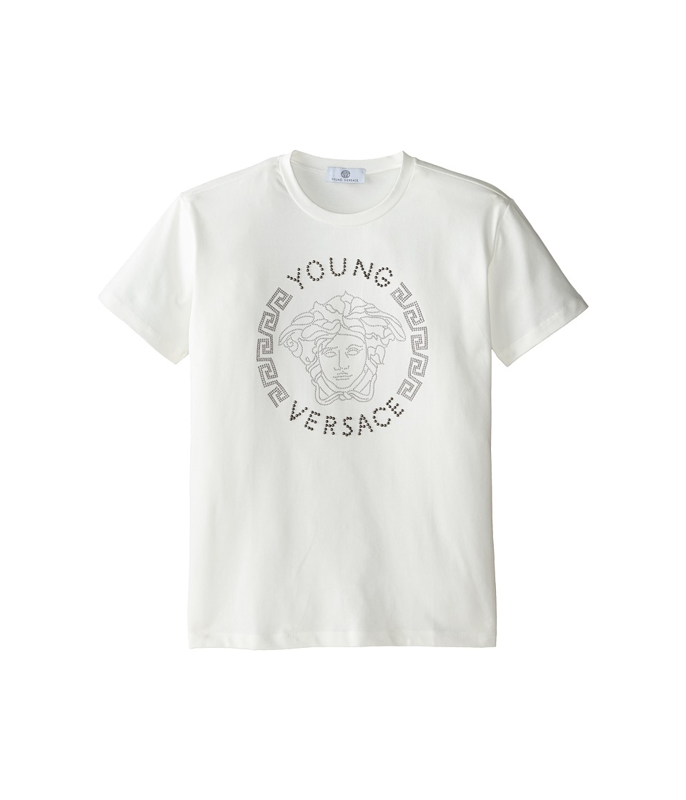 Versace Kids - Young Versace Short Sleeve Tee w/ Medusa Graphic (Big Kids) (White) Boy's T Shirt