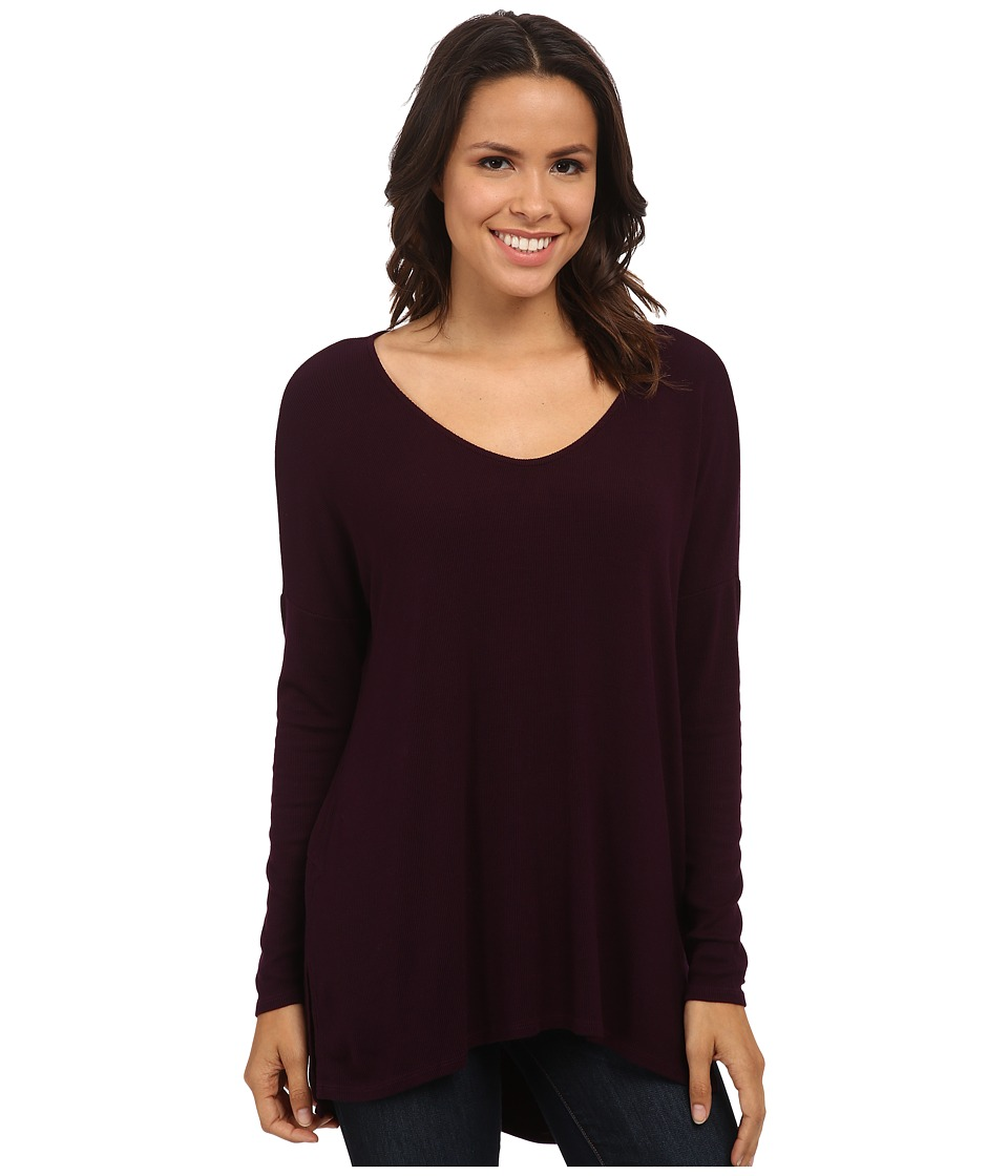 Michael Stars - 2x1 Rib Long Sleeve Wide Vee Neck Hi Low (Monarch) Women's Clothing