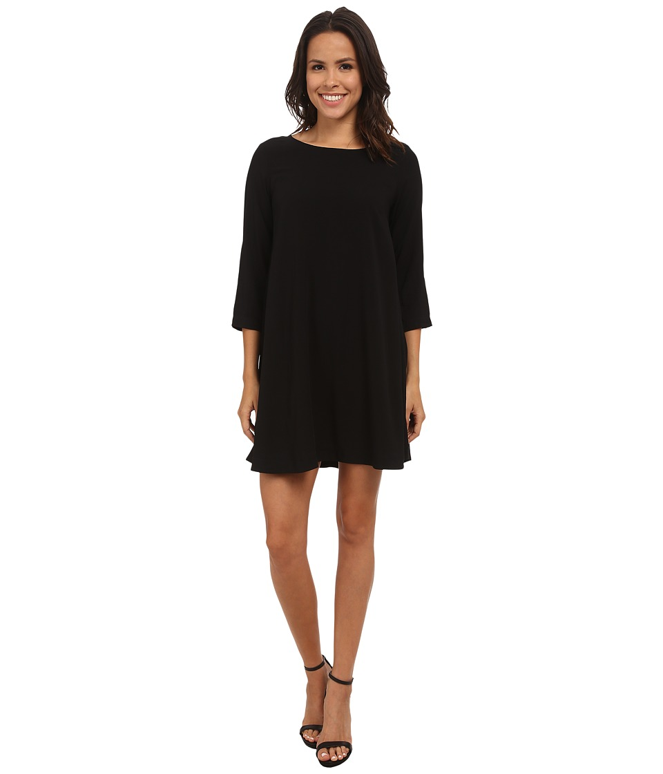 Michael Stars Modern Rayon 3/4 Sleeve Crew Neck Mini Dress (Black) Women