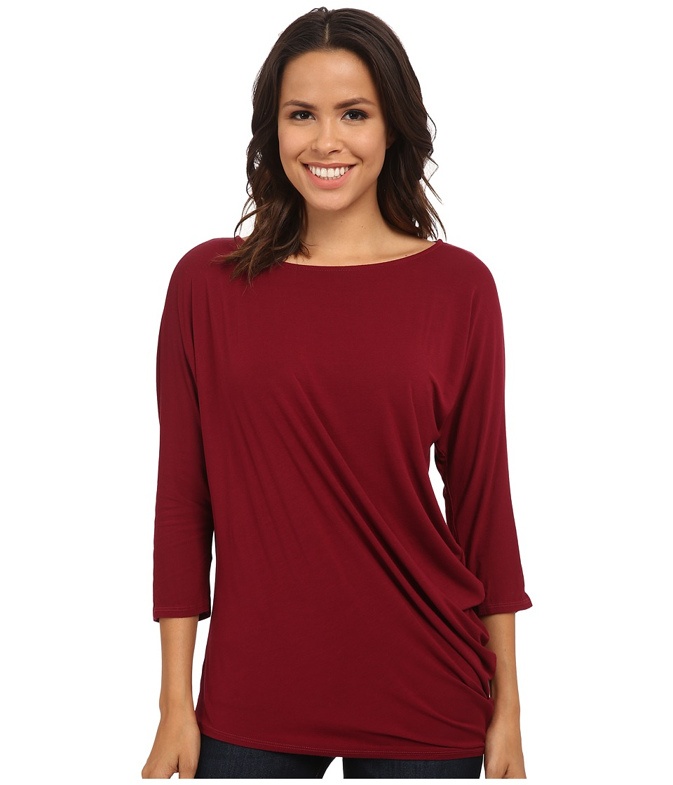 Michael Stars - Jersey Lycra 3/4 Sleeve Side Drape Top (Velvet) Women