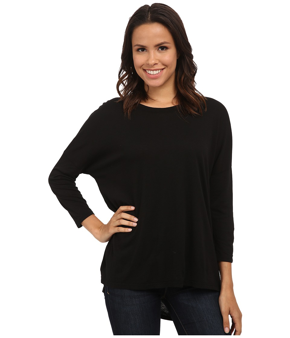 Michael Stars - Luxe Slub 3/4 Sleeve Stepped Hem Top (Black) Women's Clothing