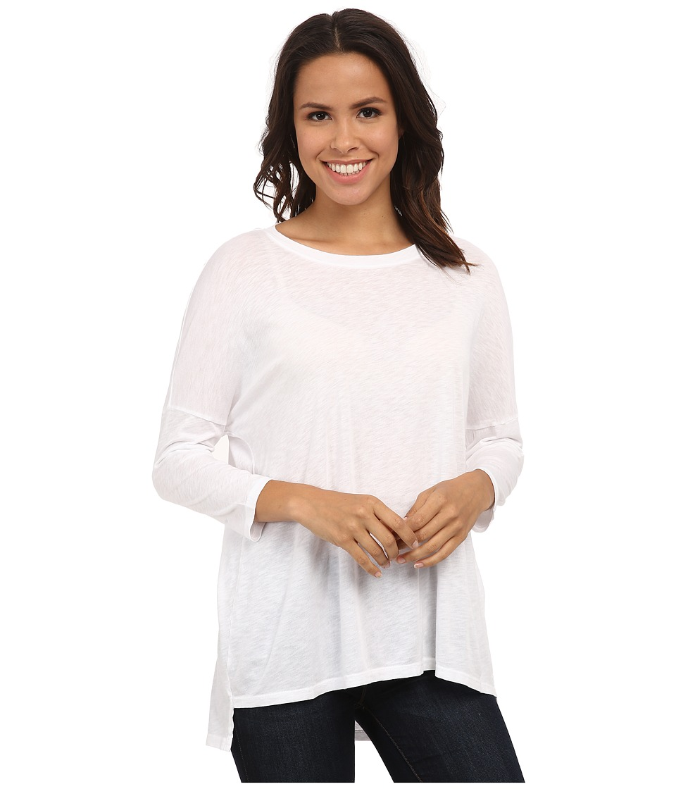 Michael Stars - Luxe Slub 3/4 Sleeve Stepped Hem Top (White) Women's Clothing