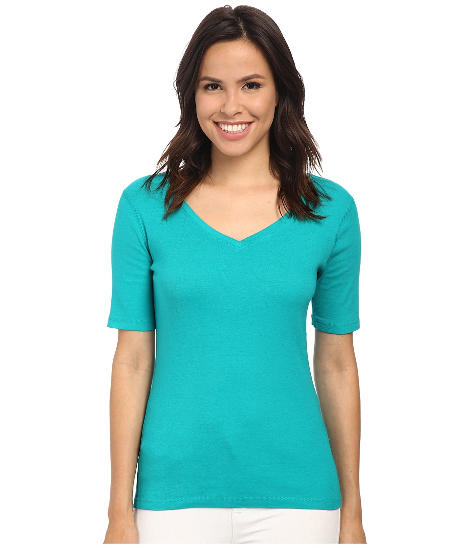 Three Dots - 9 Sleeve V-Neck (Bali Coast) Women's Short Sleeve Pullover