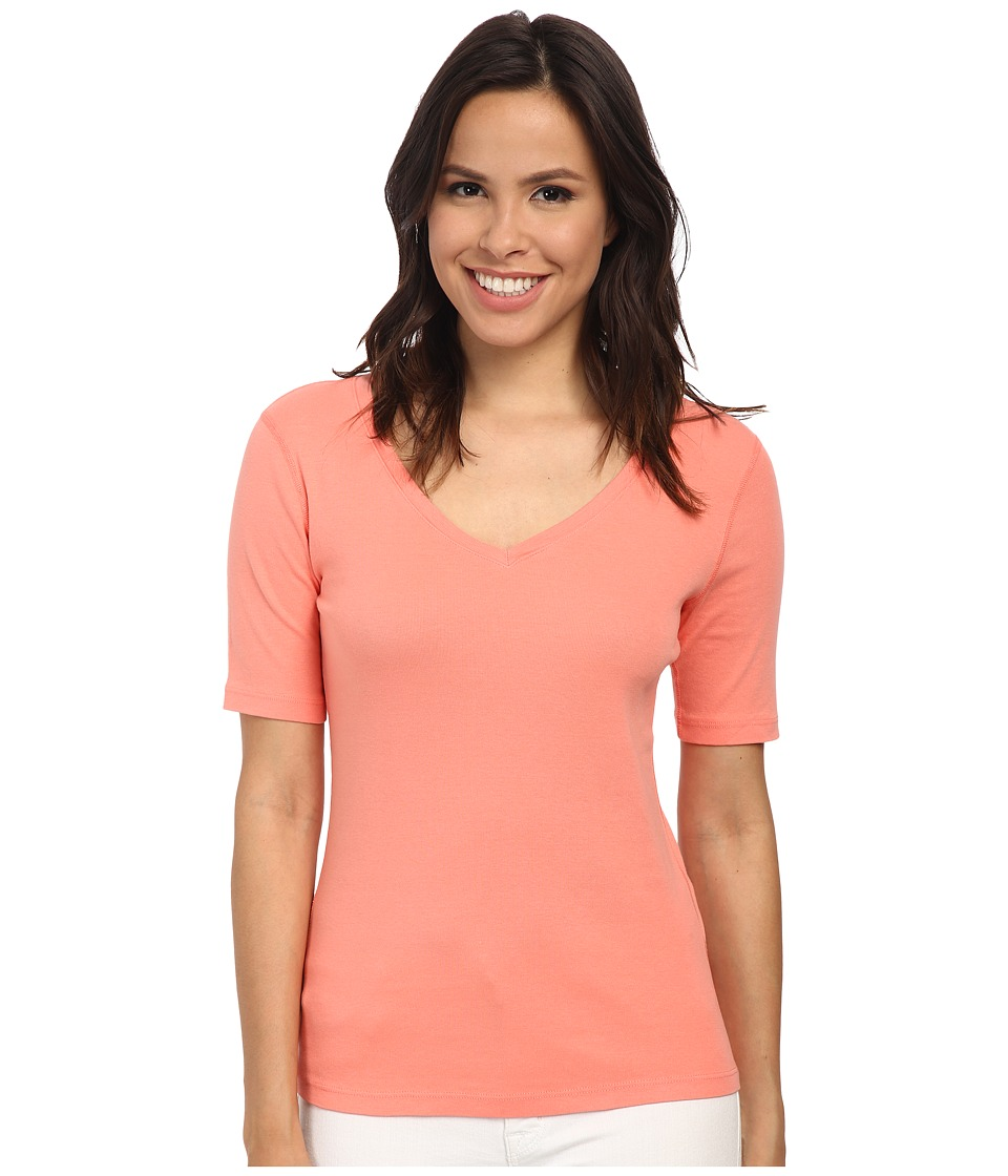 Three Dots - 9 Sleeve V-Neck (Capri Coral) Women's Short Sleeve Pullover