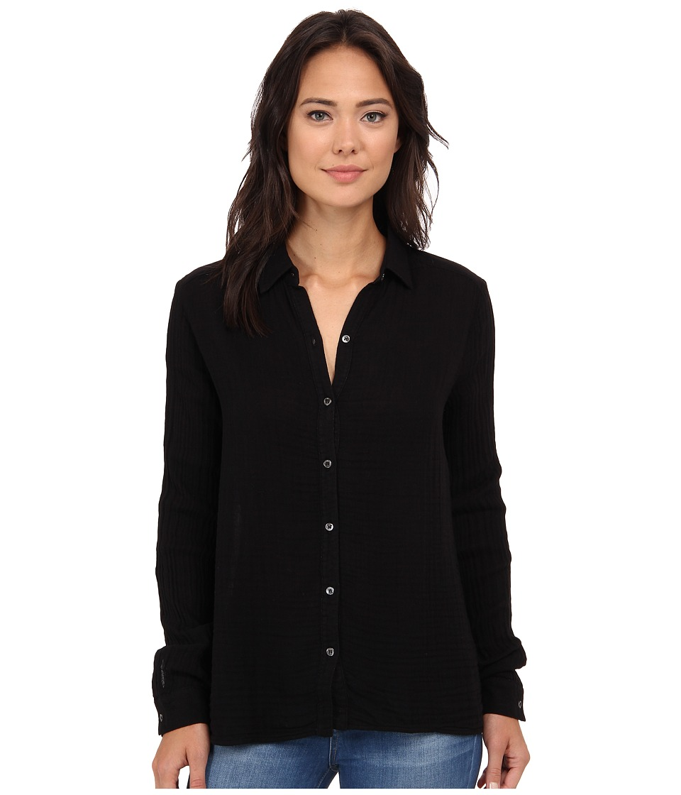 Three Dots - Long Sleeve Shirt (Black) Women's Long Sleeve Button Up