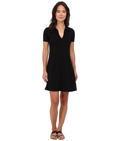 Three Dots - Short Sleeve Polo A-Line Dress (Black) Women