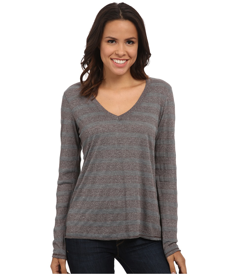 Michael Stars - Silver Lake Stripe Long Sleeve Vee Neck (Fatigue) Women's Clothing
