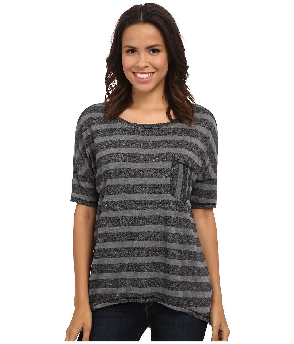 Michael Stars - Silver Lake Stripe Elbow Sleeve Hi Low w/ Pocket (Black) Women's Clothing