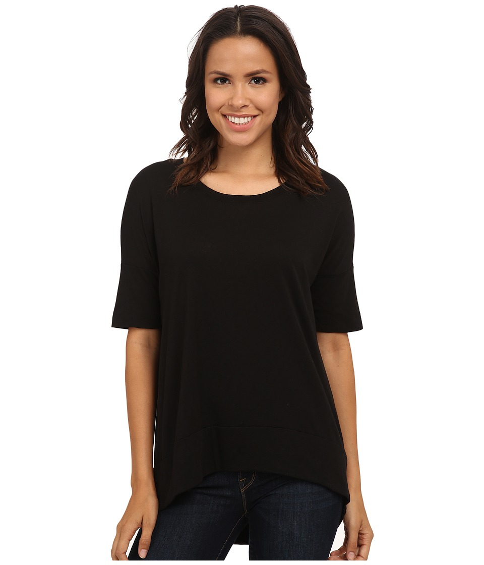 Michael Stars - Luxe Slub Elbow Sleeve Scoop Neck High-Low Top (Black) Women's Short Sleeve Pullover