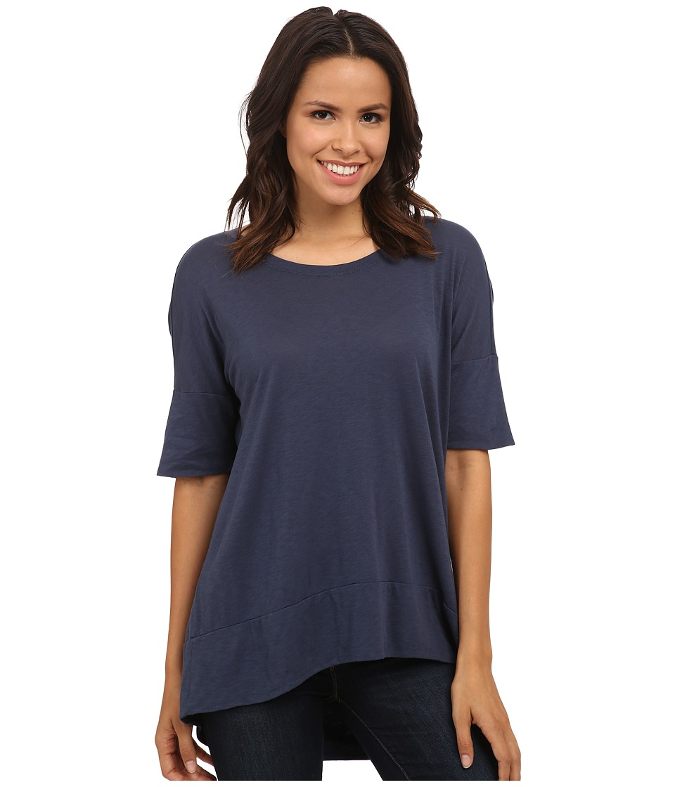 Michael Stars - Luxe Slub Elbow Sleeve Scoop Neck High-Low Top (Slate Blue) Women's Short Sleeve Pullover