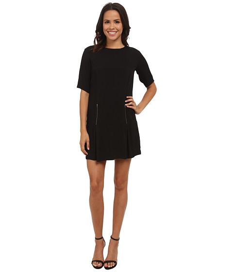 Michael Stars - Crepe Elbow Sleeve Drop Waist Dress w/ Zips (Black) Women's Dress
