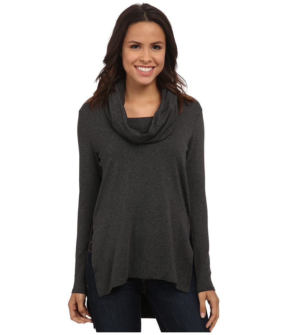 Michael Stars - Elevated Terry Long Sleeve Cowl Hood Hi Low Tunic (Heather Grey) Women's Clothing