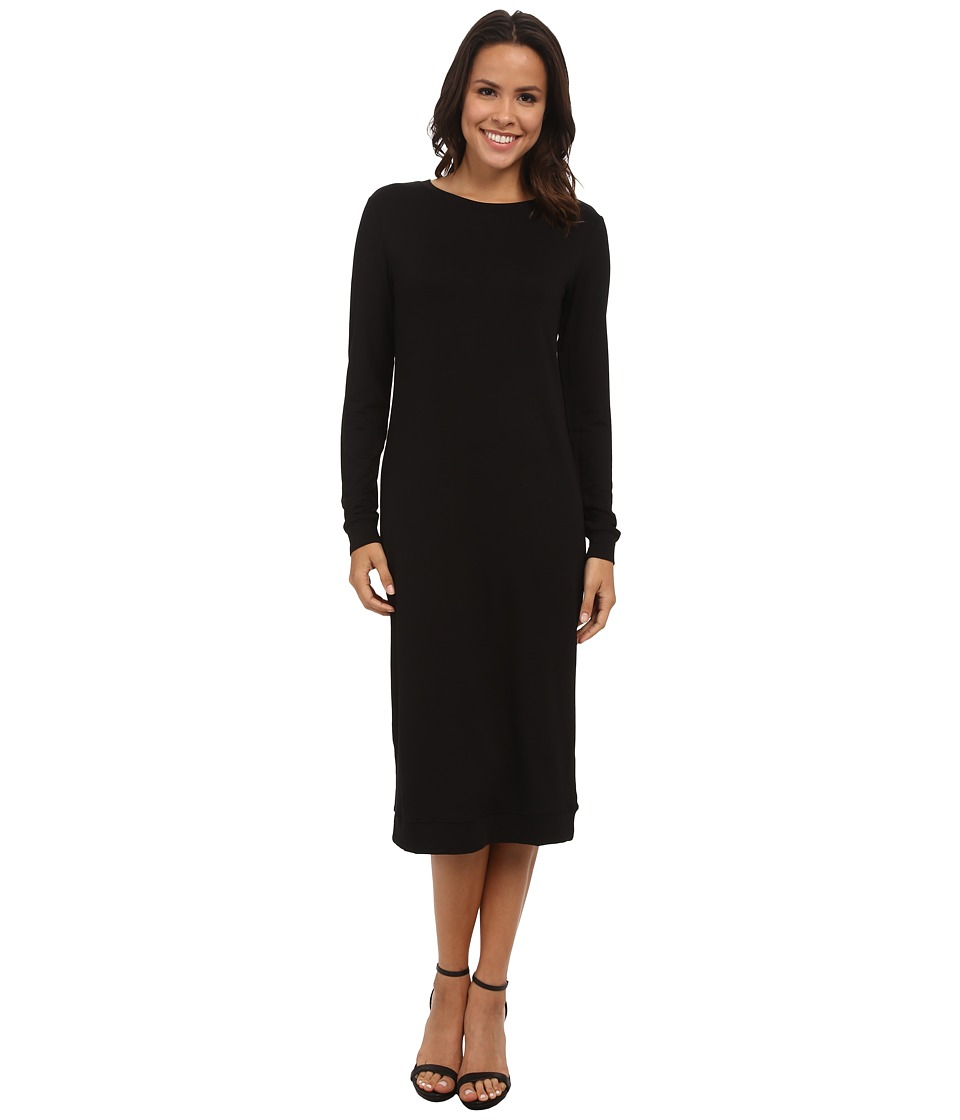 Michael Stars - Elevated Terry Long Sleeve Crew Neck Midi Dress (Black) Women's Dress