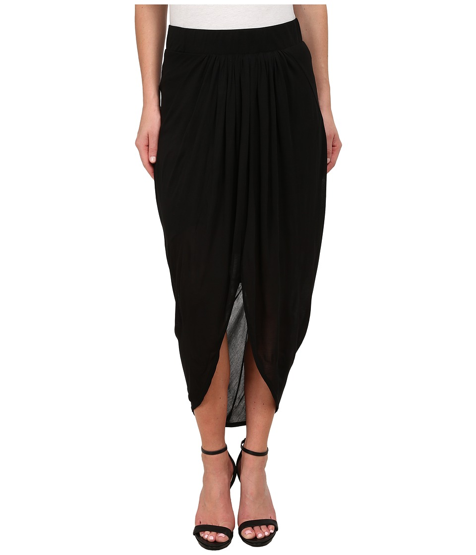 Michael Stars - Micro Modal Draped Front Midi Skirt (Black) Women's Skirt