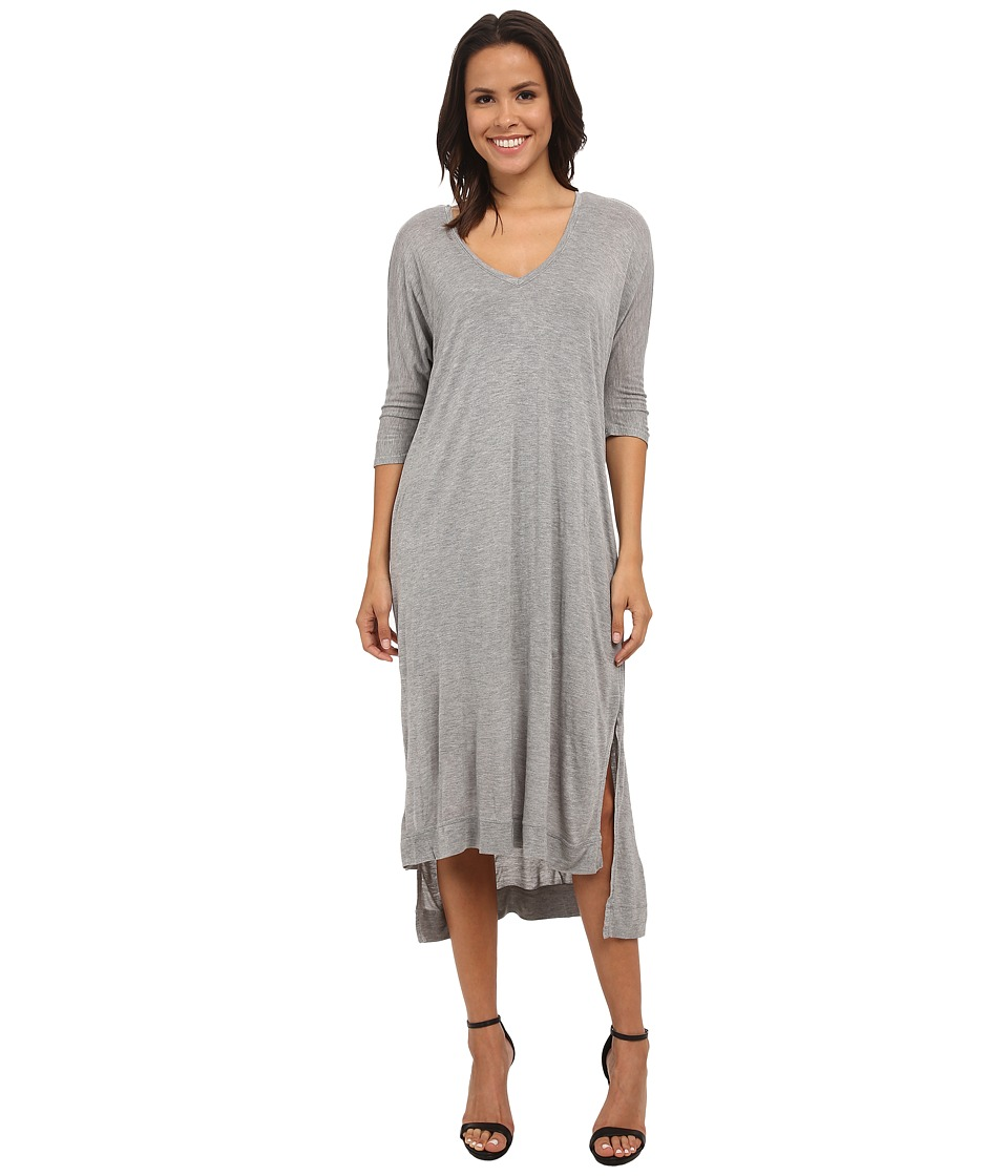 Michael Stars - Micro Modal Elbow Sleeve Double Vee Midi Dress (Heather Grey) Women's Dress
