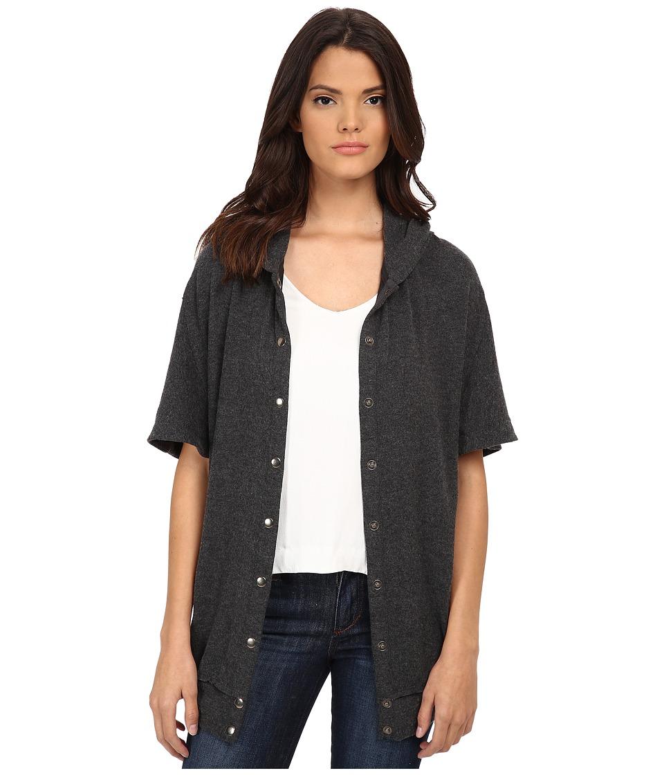 Michael Stars - Madison Brushed Jersey Hooded Coat (Charcoal) Women's Coat