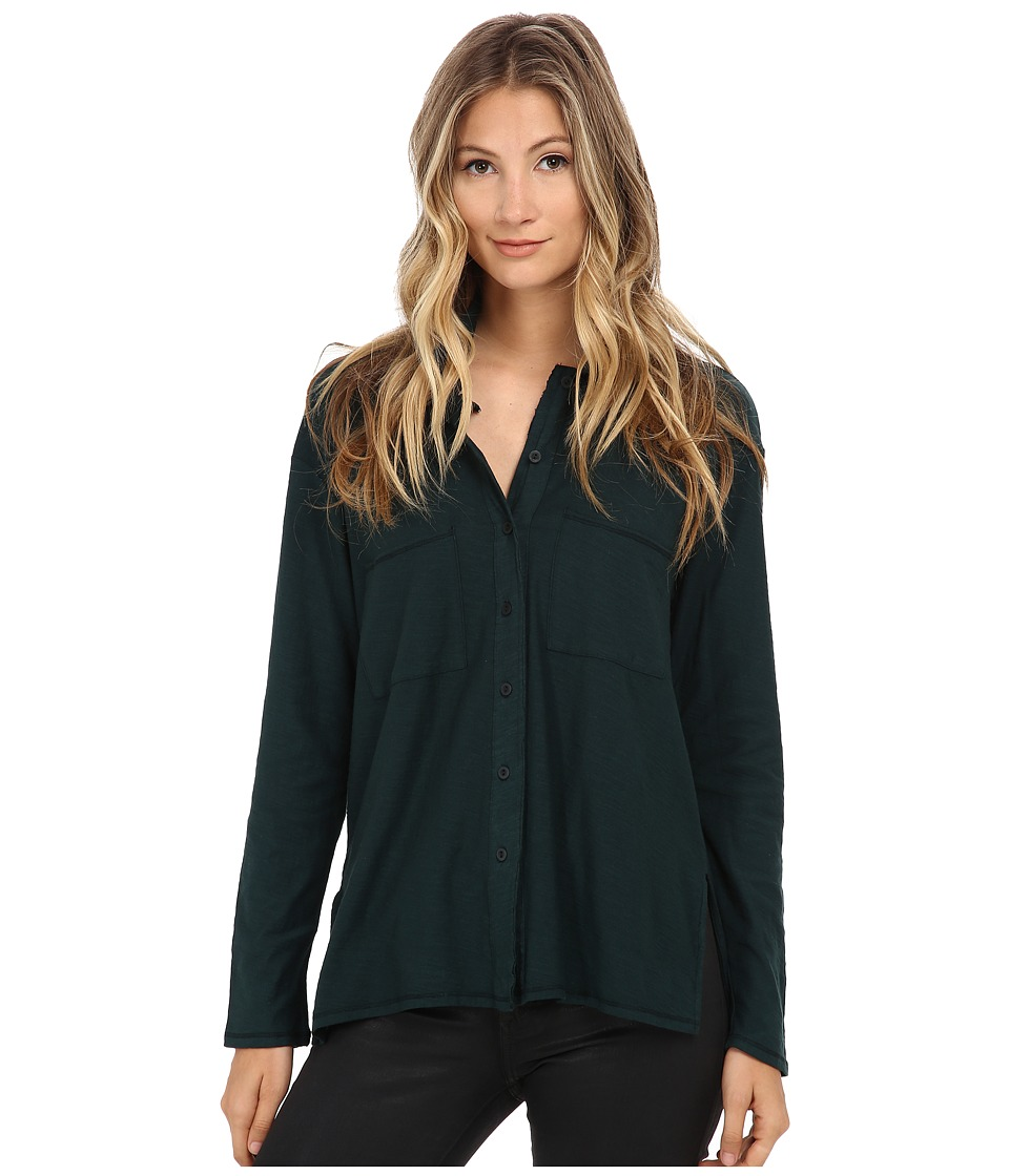 Michael Stars - California Slub Long Sleeve Button Up Hi Low (Everglades) Women's Clothing