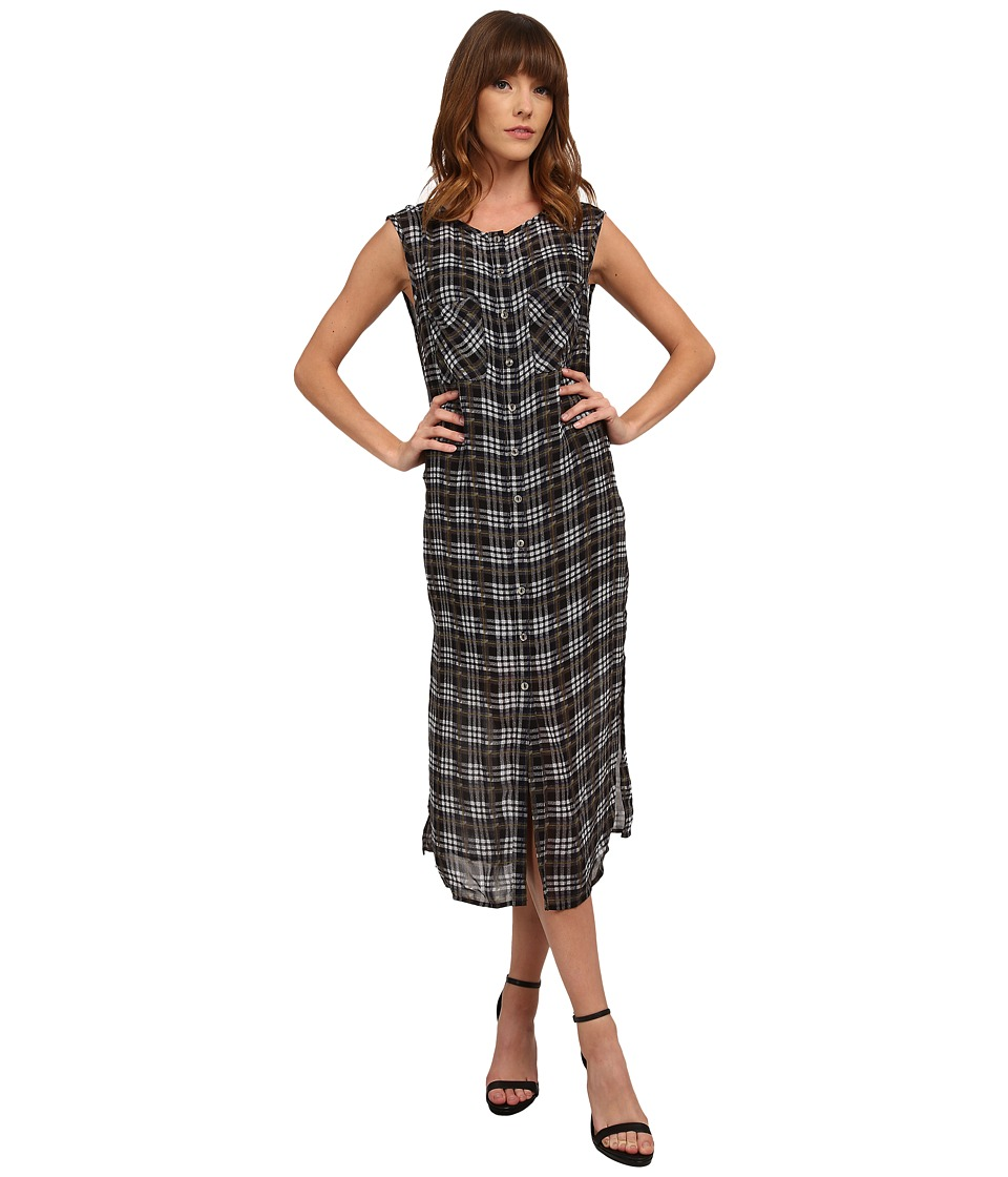 Michael Stars Plaid Print Georgette Sleeveless Button Up Dress (Black) Women