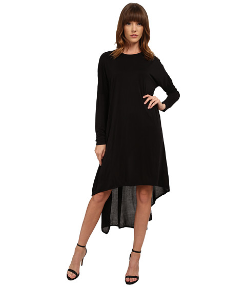Michael Stars - Cupro Long Sleeve Crew Neck Hi Low Midi Dress (Black) Women