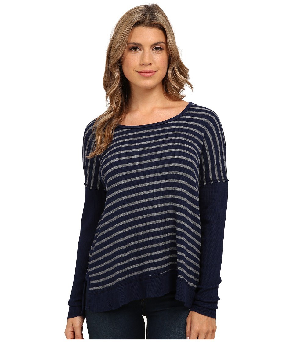 Michael Stars - Thermal Stripe Long Sleeve Wide Scoop Neck (Nocturnal) Women's Clothing