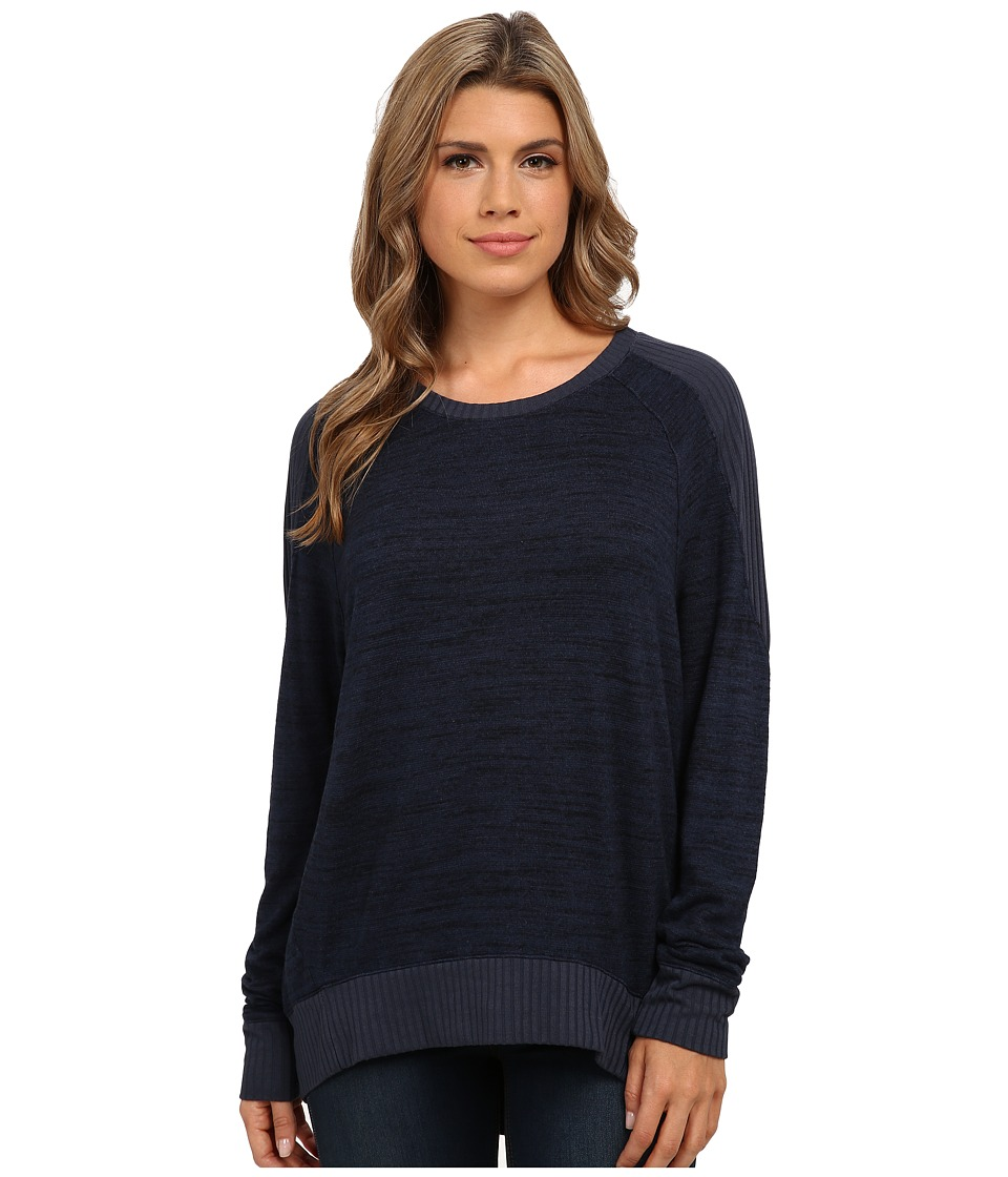 Michael Stars - Sweater Knit Rib Mix Long Sleeve Hi Low Pullover (Slate Blue) Women's Sweater