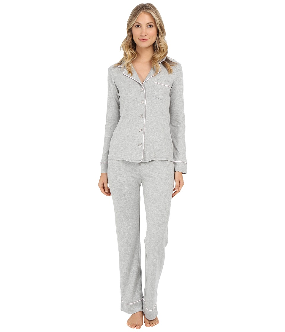 Michael Stars - Long Sleeve Button Up and Drawstring Pants PJ Set (Heather Grey) Women