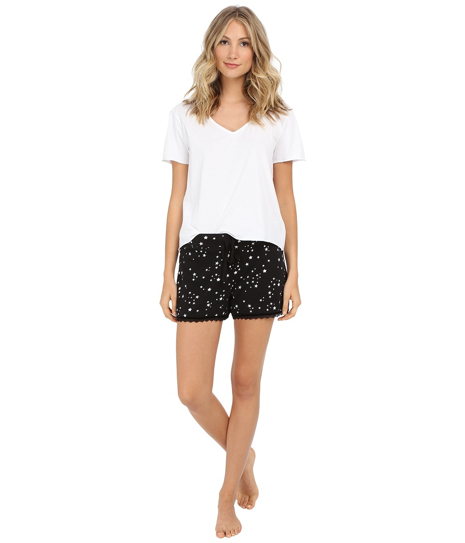 Michael Stars - Short Sleeve Vee Neck and Drawstring Shorts PJ Set (Stars) Women