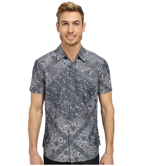 William Rast - Bandana Print Shirt (White) Men's Clothing