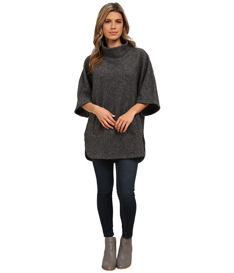 Michael Stars - Sherpa Oversized Pullover w/ Front Pocket (Charcoal) Women's Sweatshirt