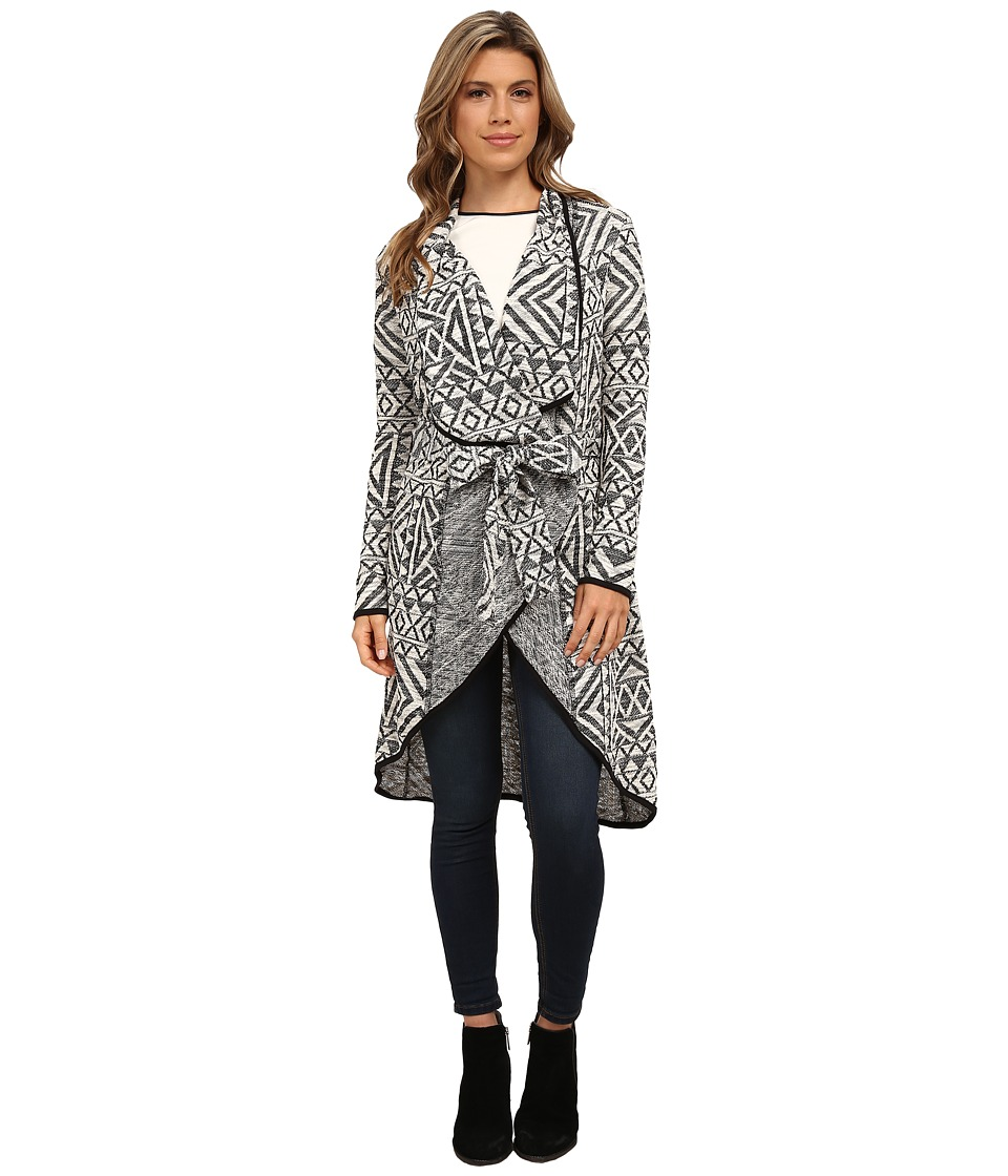 Michael Stars - Geo Jacquard Long Sleeve Cardigan (Black/White) Women's Sweater