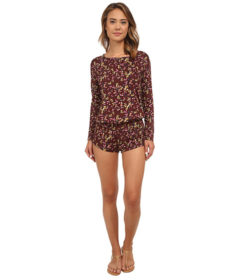 Beach Riot - Crimson Floral Long Sleeve Romper (Crimson Floral) Women