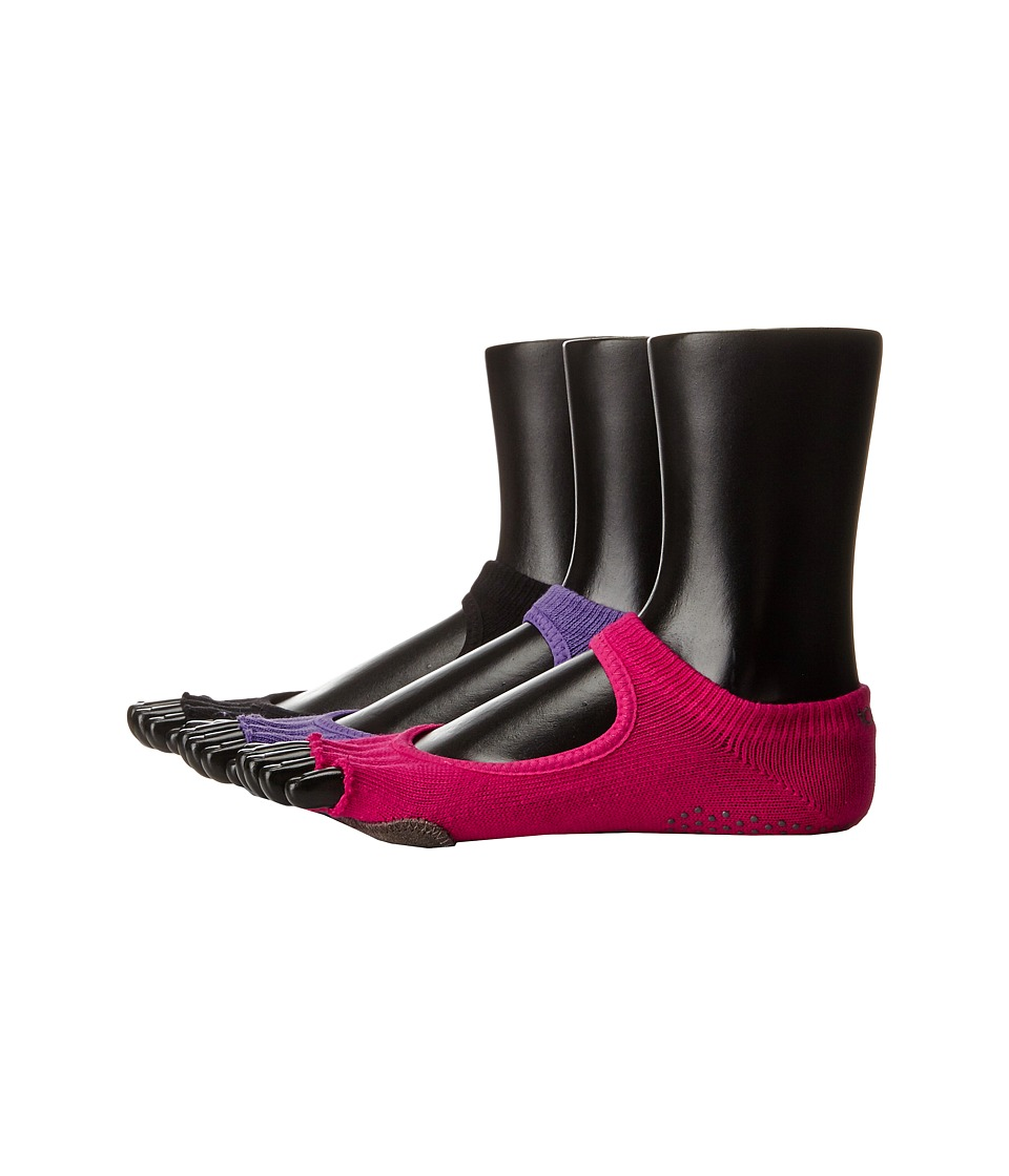 toesox - Plie Full Toe 3-Pack (Black/Fuchsia/Light Purple) Women's Crew Cut Socks Shoes