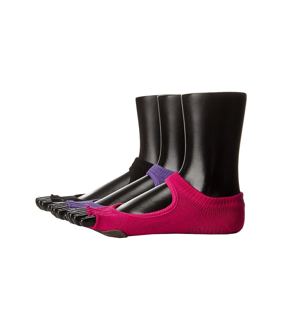 toesox - Plie Full Toe 3-Pack (Black/Fuchsia/Light Purple) Women's Crew Cut Socks Shoes