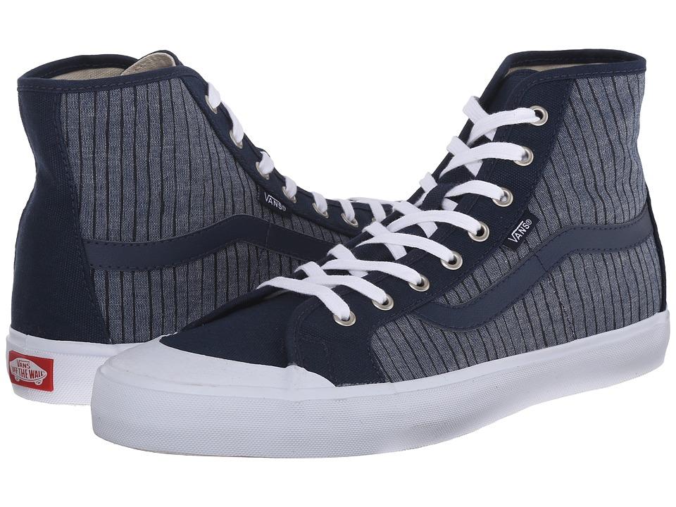 Vans - Black Ball Hi SF ((Chambray Stripes) Dress Blues) Men's Shoes
