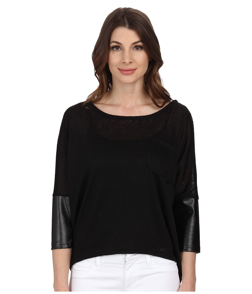 William Rast - PU Sleeve Slub Knit Top (Black) Women