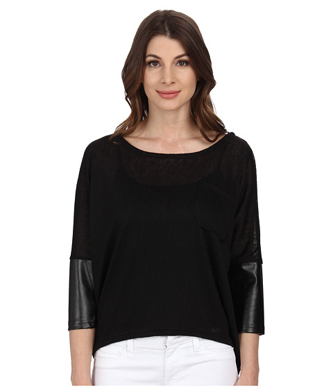 William Rast - PU Sleeve Slub Knit Top (Black) Women's Clothing