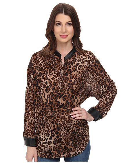 William Rast - Leopard Chiffon Blouse (Leopard) Women
