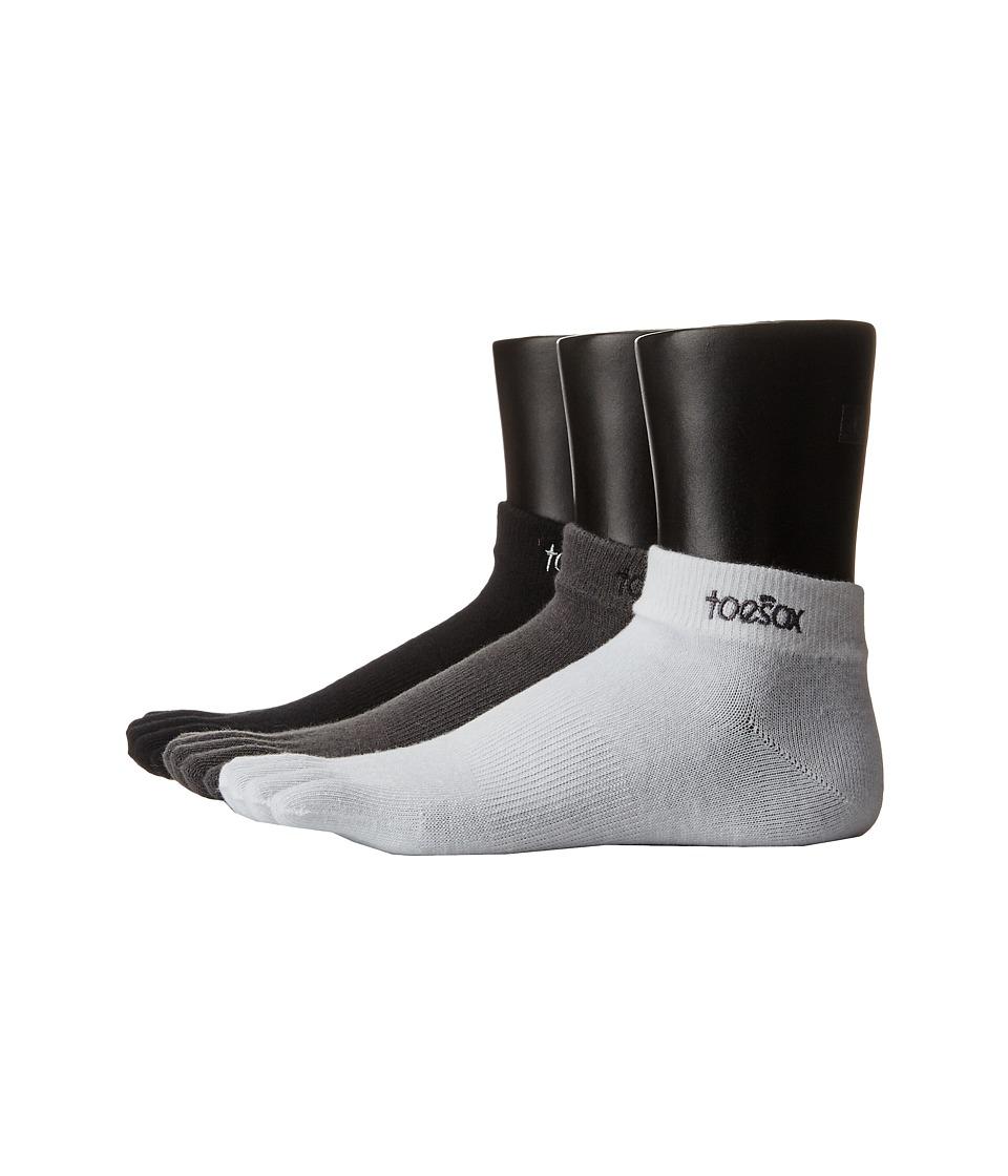 toesox - Ultralite Weight 3-Pack (Black) Women's Crew Cut Socks Shoes