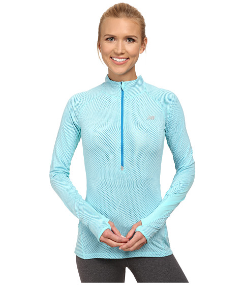 New Balance - Impact Half Zip Graphic (Seaspray) Women's Long Sleeve Pullover