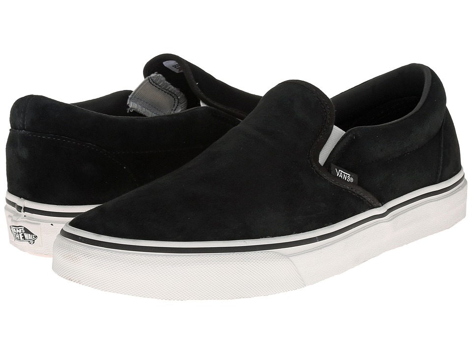 Vans - Classic Slip-On ((Pig Suede) Black/Blanc) Skate Shoes