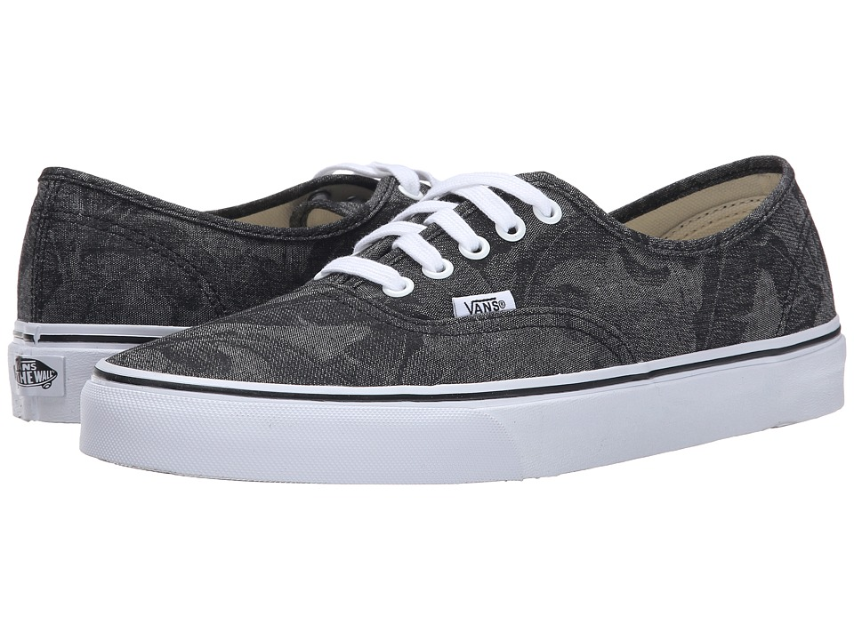 Vans - Authentic ((Chambray Leaves) Black) Skate Shoes