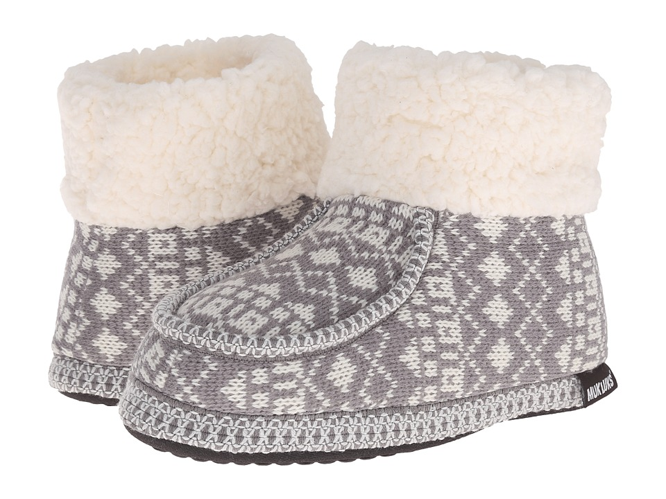 MUK LUKS - Moc Boot with Cuff (Diamond Fairisle Grey) Women
