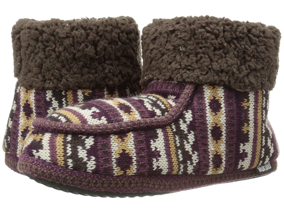 MUK LUKS - Moc Boot with Cuff (B Side Fairisle Purple) Women