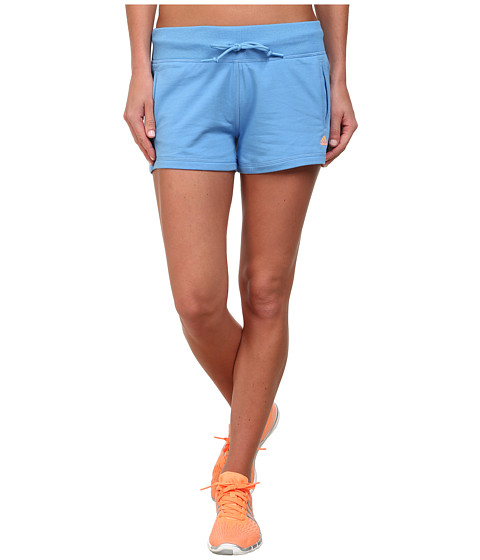 adidas - Essentials Linear Shorts (Lucky Blue/Flash Orange) Women