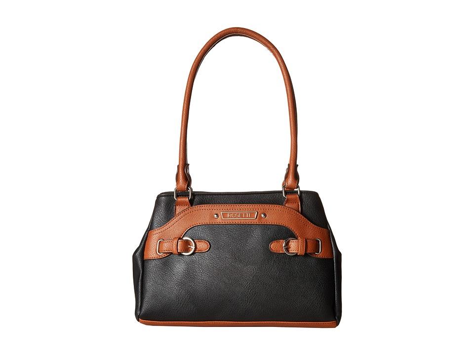 Rosetti - Farrah Two-Tone Satchel (Black) Satchel Handbags