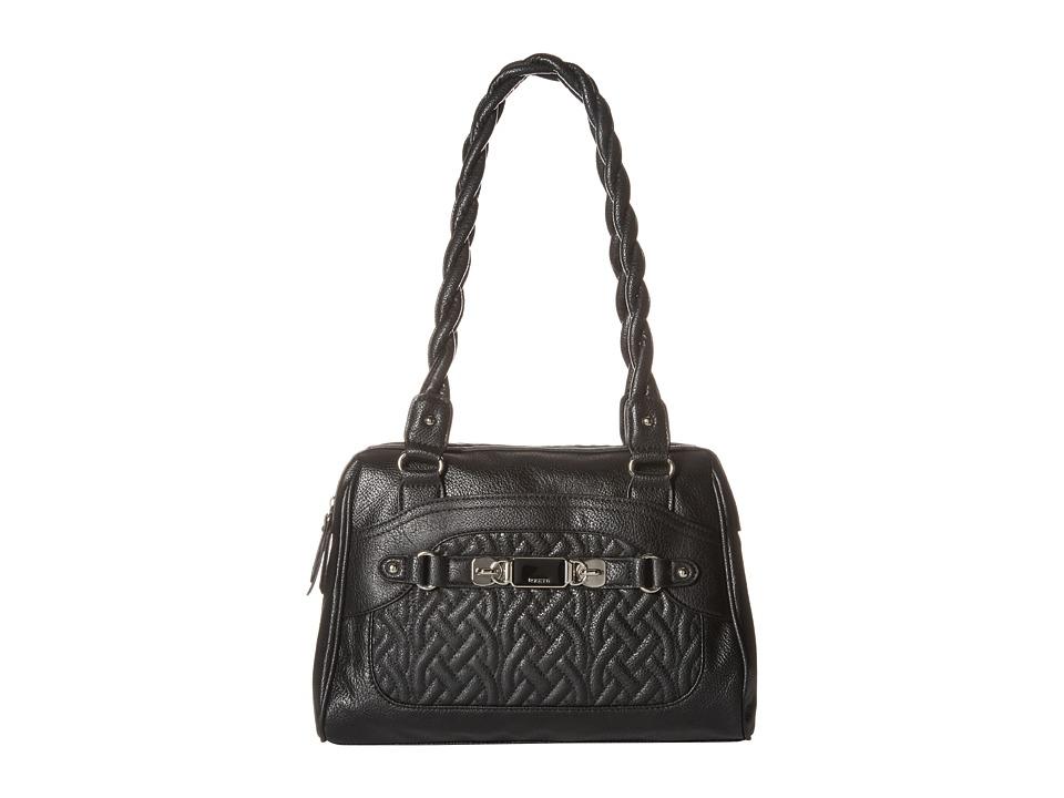 Rosetti - Twist It Up Quilted Satchel (Black) Satchel Handbags