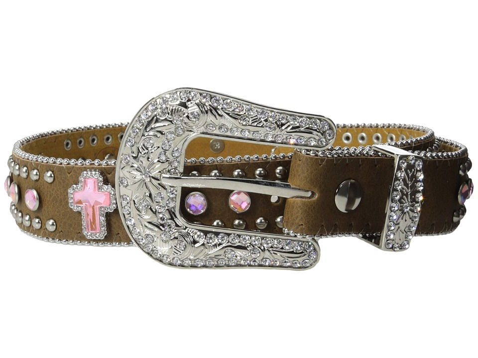 M&F Western - Crystal Cross Belt (Little Kids/Big Kids) (Brown) Women's Belts